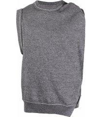 ader error asymmetric-draped knitted vest - black