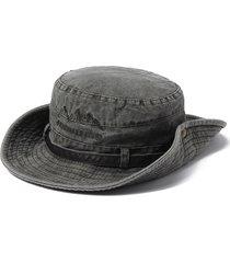 cappello estivo da uomo in cotone lavato con ricamo a righe e cappello da pescatore