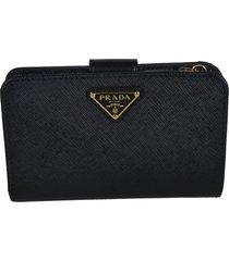 prada triangle logo snap button wallet