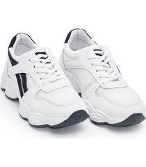 tenis mujer franjas negras color blanco, talla 37