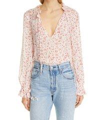 women's ganni floral tie neck georgette blouse, size 12 us - white