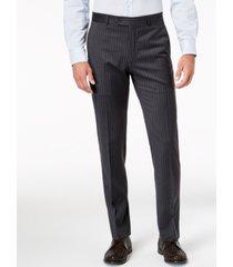 tommy hilfiger men's slim-fit th flex stretch gray/white stripe suit pants