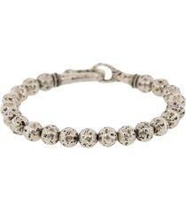 john varvatos distressed beaded bracelet - silver