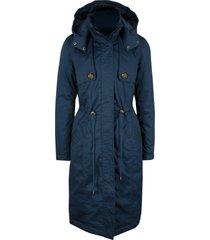 trench lungo e sciancrato, con cappuccio e imbottitura leggera (blu) - bpc bonprix collection