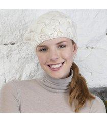 handknitted aran beret cream