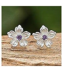 amethyst stud earrings, 'winter blooms' (thailand)