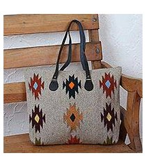 leather accent zapotec wool tote, 'forest fanfare' (mexico)