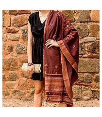 handwoven shawl, 'mauve affection' (india)