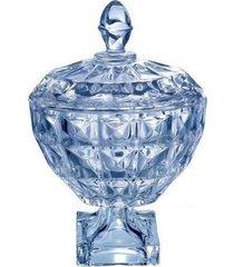 bomboniere azul diamante de cristal com pé - wolff - 24 cm