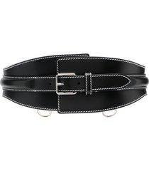 alexander mcqueen contrast-stitch wide belt - black