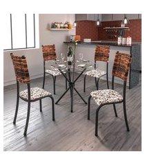 conjunto de mesa com tampo de vidro e 4 cadeiras istambul i preto e junco