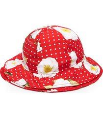 monnalisa polka dot print orchid hat - red