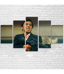5 panels scarface movie painting hd printed canvas wall art picture home décor