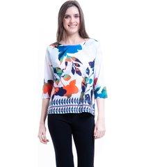 blusa 101 resort wear crepe tunica estampada folhagem azul