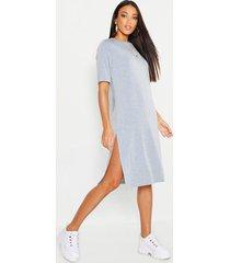 midi t-shirt jurk met split, grey