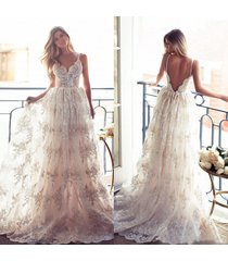 backless summer beach lace wedding dress with spaghetti straps