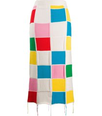 msgm patchwork-knit pencil skirt - white