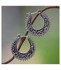 sterling silver hoop earrings, 'kuta moon' (indonesia)