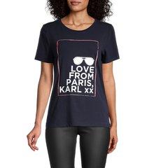 karl lagerfeld paris women's love from paris t-shirt - marine - size m