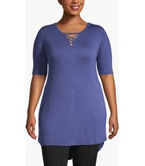 lane bryant women's livi strappy-neck tunic with pockets 18/20 deep cobalt