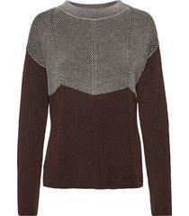 knitted pullover short 1/1 sle stickad tröja brun betty barclay