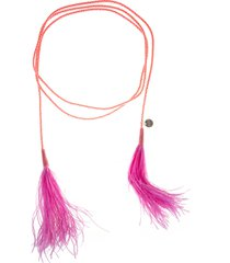 gianluca capannolo red/fuchsia ostrich feather-embellished tie belt