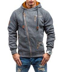 casual sudadera con capucha algodón sólido para hombre-gris oscuro