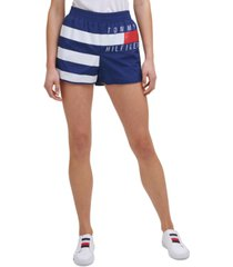 tommy hilfiger sport women's striped logo shorts