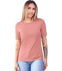 t-shirt modal gola careca magnolia blush - feminino