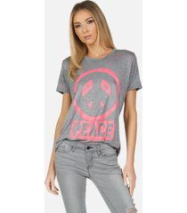 capri airbrush peace - heather grey/pink paint splatter l