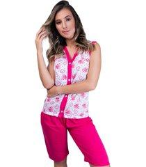 pijama mvb modas pescador aberto botões adulto pink
