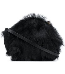 jil sander mini goji faux-fur crossbody bag - blue