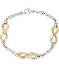 diamond infinity bracelet (1/8 ct. t.w.) in sterling silver & 14k gold-plate