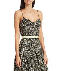 alice + olivia women's harmon drapey print chiffon-silk slip tank top - neon yellow multi - size l