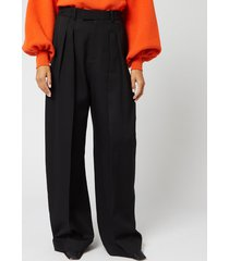 jw anderson women's high waisted wide leg trousers - black - uk 8
