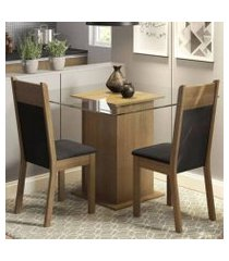 conjunto sala de jantar madesa lau mesa tampo de vidro com 2 cadeiras rustic/preto/sintético preto rustic