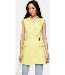 yellow belted sleeveless blazer - lemon