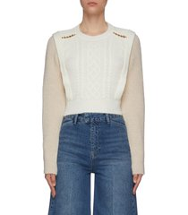 chain detail contrast colour knitted sweater