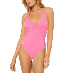 bleu by rod beattie plunge drape cross-back one-piece swimsuit women's swimsuit