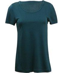 zijden-shirt met korte mouwen uit organic silk, petrol 36/38