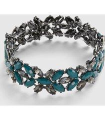 lane bryant women's faceted stone stretch bracelet onesz deep teal