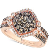 le vian chocolatier diamond cluster ring (1-1/8 ct. t.w.) in 14k rose gold