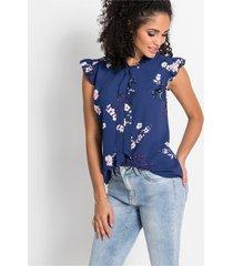 mouwloze blouse met print