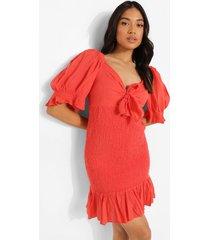 petite geplooide linnen look mini jurk, coral