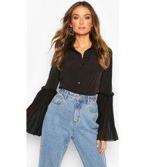 blouse met geplooide mouwen, black