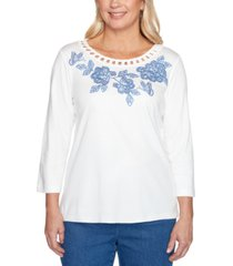 alfred dunner petite pearls of wisdom 2019 embroidered embellished top