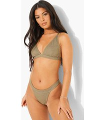 mix & match driehoekige gekreukelde bikini top, light khaki