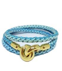 pulseira couro alice monteiro trançada 3 voltas azul.