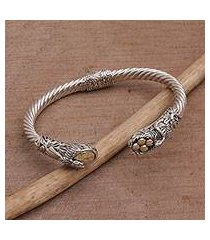 gold accented sterling silver cuff bracelet, 'fight for survival' (indonesia)