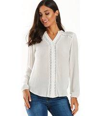 yoins diseño de botones blancos detalles de encaje blusa de mangas elásticas